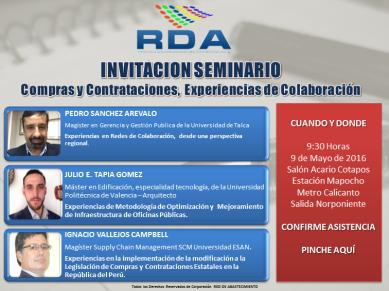 Invitación Seminario Compras y Contrataciones, Experiencias de Colaboración